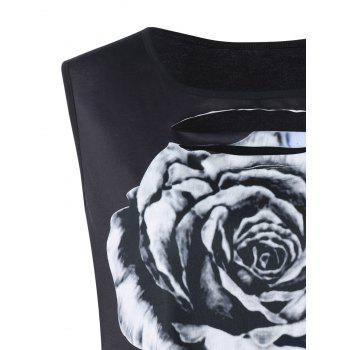 Plus Size Floral Cut Out Tank Top - BLACK 4XL