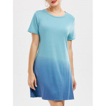 Ombre Short Sleeve T Shirt Dress