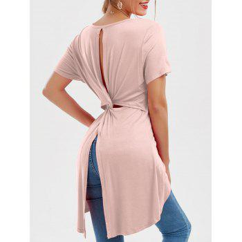 Scoop Neck Twist Knotted Tunic Top