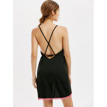 Backless Tassel Front Slit Halter Dress - BLACK BLACK