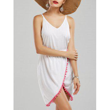 Backless Tassel Front Slit Halter Dress - WHITE WHITE