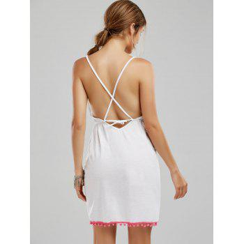 Backless Tassel Front Slit Halter Dress - L L