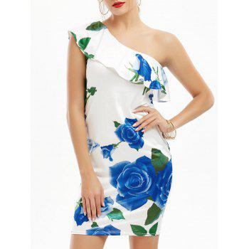 One Shoulder Rose Print Flounce Dress