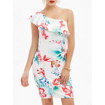 One Shoulder Flounce Floral Print Dress