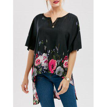 High Low Floral Print Batwing Sleeve Blouse
