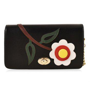 Chain PU Flower Patch Crossbody Bag