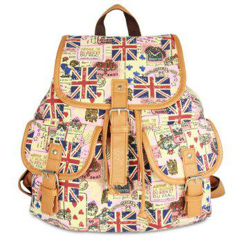Printed Canvas Buckle Straps Backpack