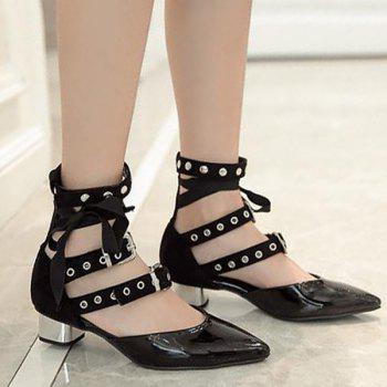 Eyelets Buckle Straps Pumps