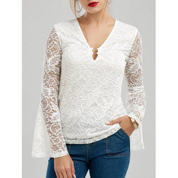 V Neck Sheer Lace Bell Sleeve Top