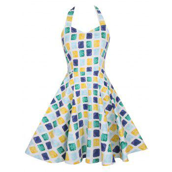Vintage Halter Geometric Print Dress