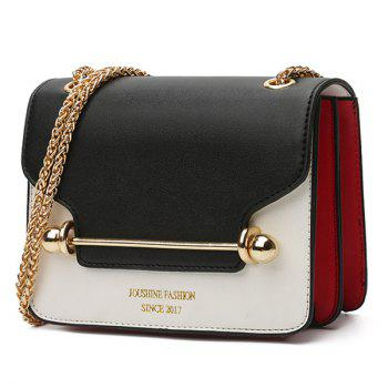 Metal Bar Chain Block Block Crossbody Bag