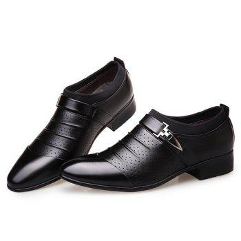 Breathable Pleated Formal Shoes - BLACK BLACK