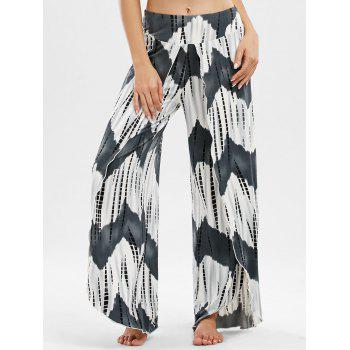 High Waisted Zigzag Slit Palazzo Pants