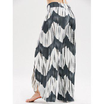 High Waisted Zigzag Slit Palazzo Pants - COLORMIX XL