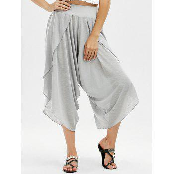 High Waisted Marled Slit Capri Pants
