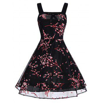 Retro Floral Print Bowknot Flare Dress