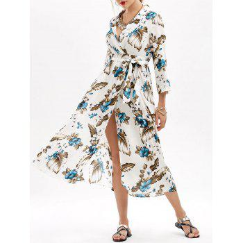 Belted Floral Print Empire Waist Slit Dress