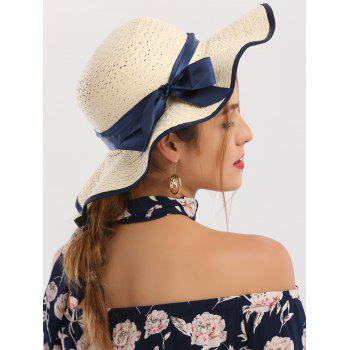 Ribbon Bowknot Wide Brim Woven Straw Hat
