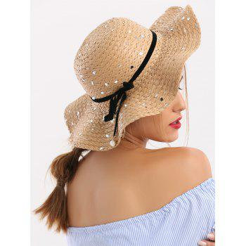 Sequin Straw Hat with Detachable Ribbon Bowknot