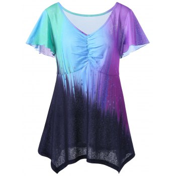 V Neck Plus Taille Ombre Top