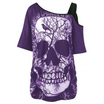 Plus Size Skew Collar Skull T-shirt - PURPLE 3XL