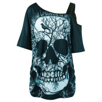 Plus Size Skew Collar Skull T-shirt - CYAN 2XL