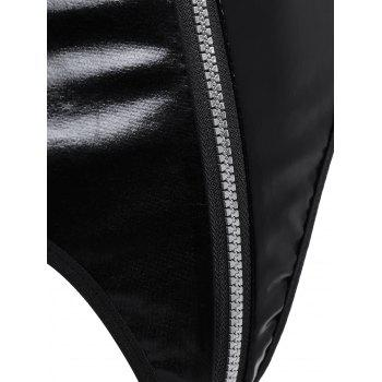 Sleeveless Zip Up Faux Leather Teddy - BLACK BLACK