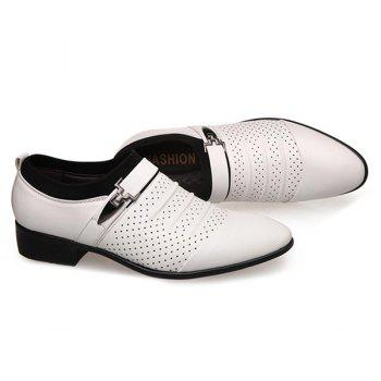 Breathable Pleated Formal Shoes - WHITE 40