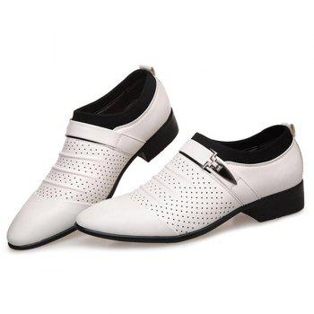 Breathable Pleated Formal Shoes - WHITE 41