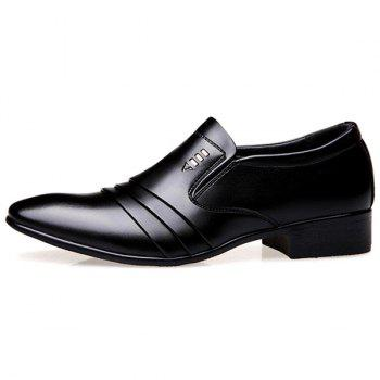Pleated Pointed Toe Formal Shoes - BLACK 43