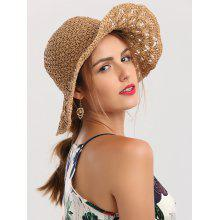 Folding Crocheted Wide Brim Straw Hat