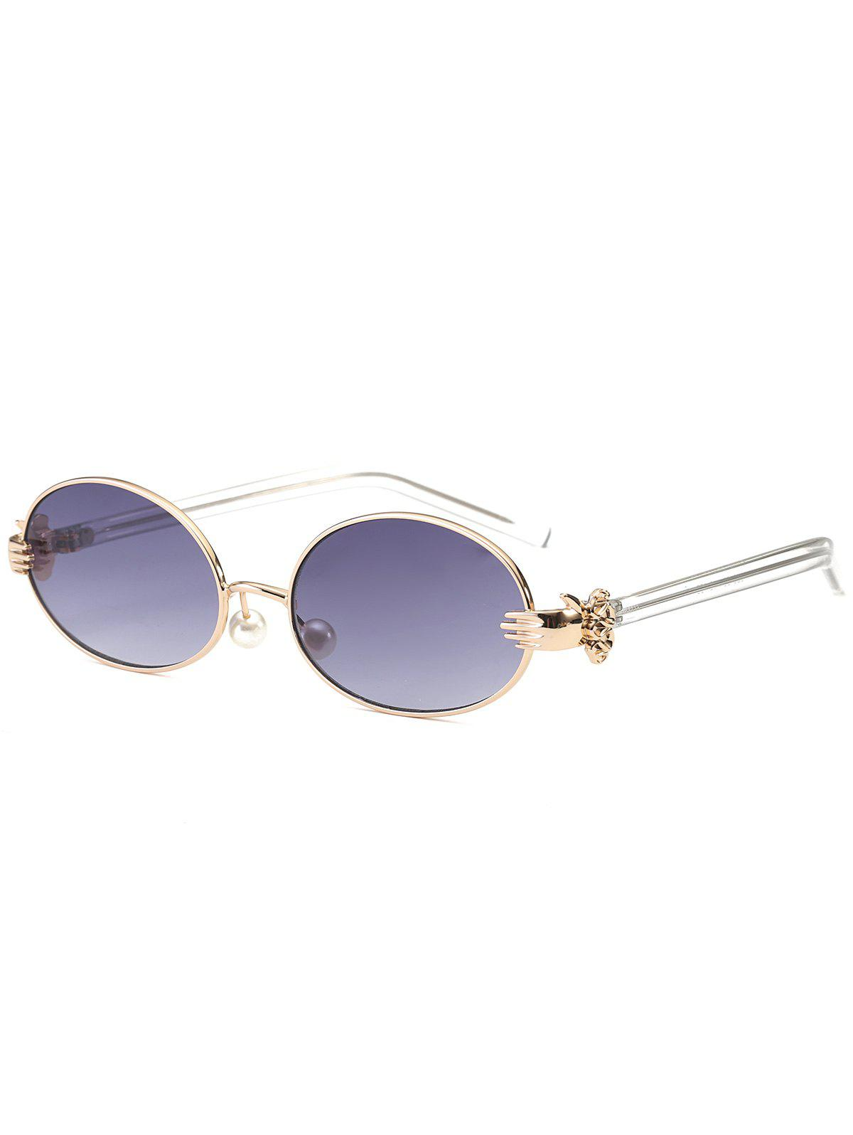 Faux Pearl Nose Pad Metallic Hand Oval Sunglasses travel double nose bridges oval mirrored sunglasses