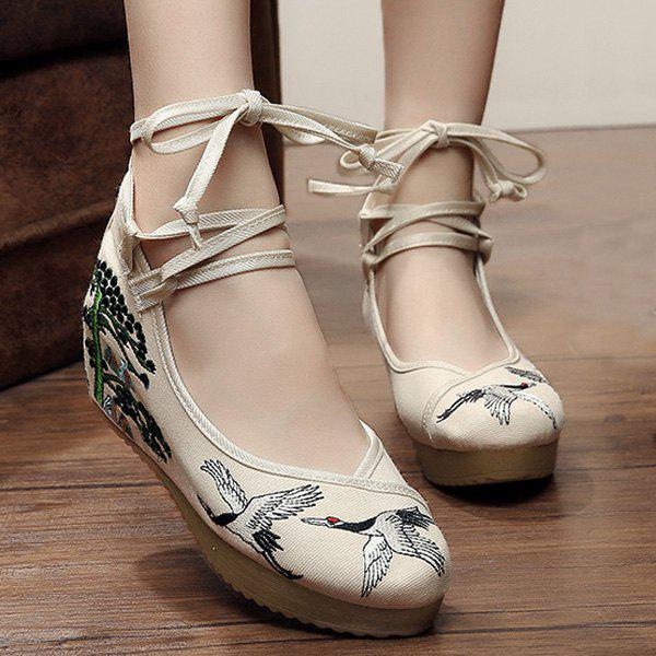 Embroidered Tie Up Wedge Shoes denim embroidered wedge shoes