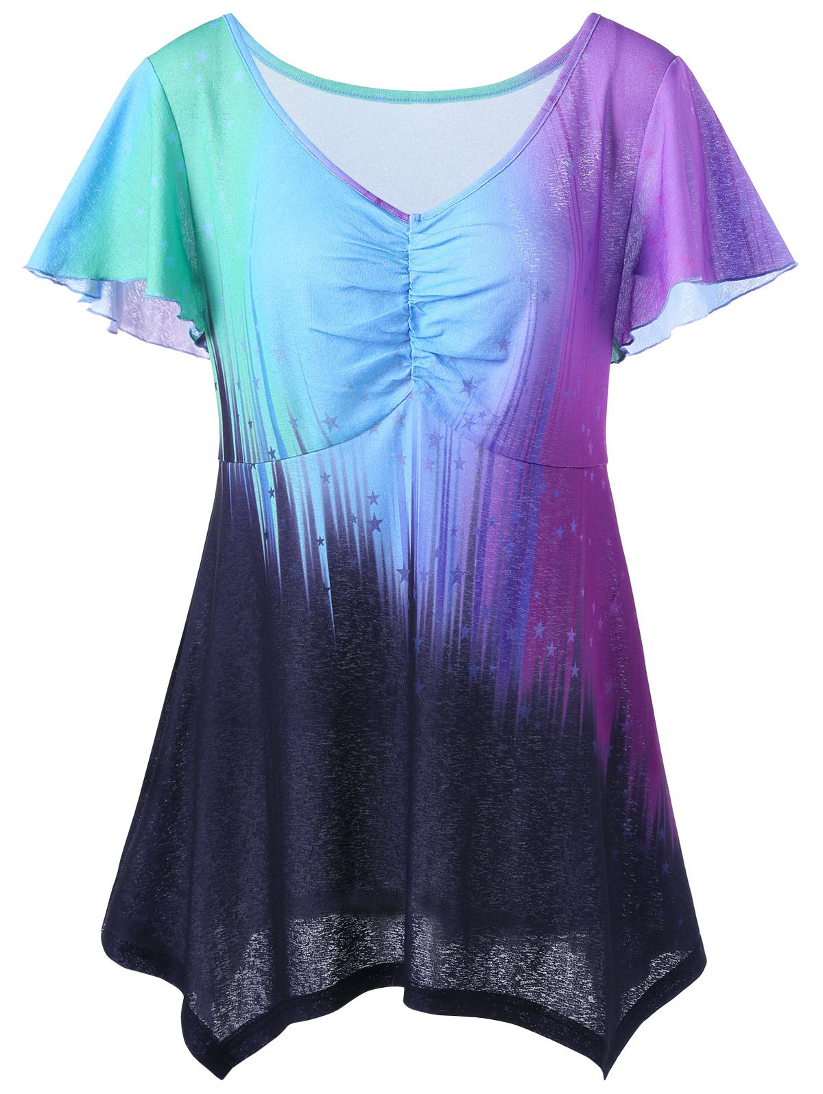 V Neck Plus Size Ombre Top - COLORMIX 4XL