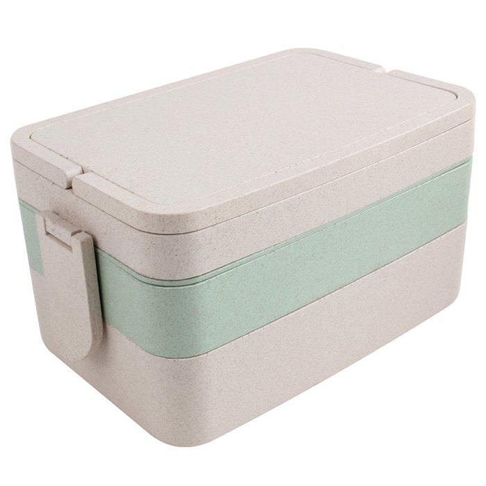 Wheat Straw Three Layers Large Capacity Portable Square Lunch Box - GREEN