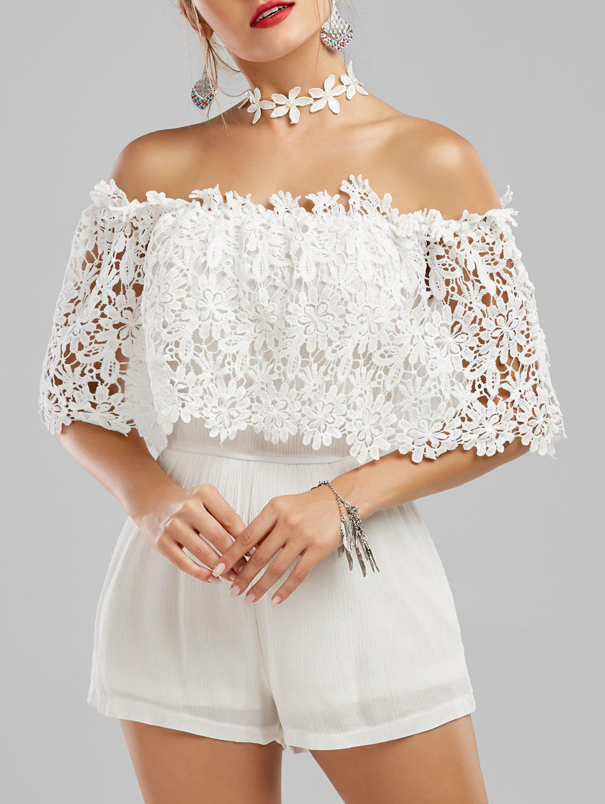 Off The Shoulder Floral Lace Panel Romper - WHITE XL