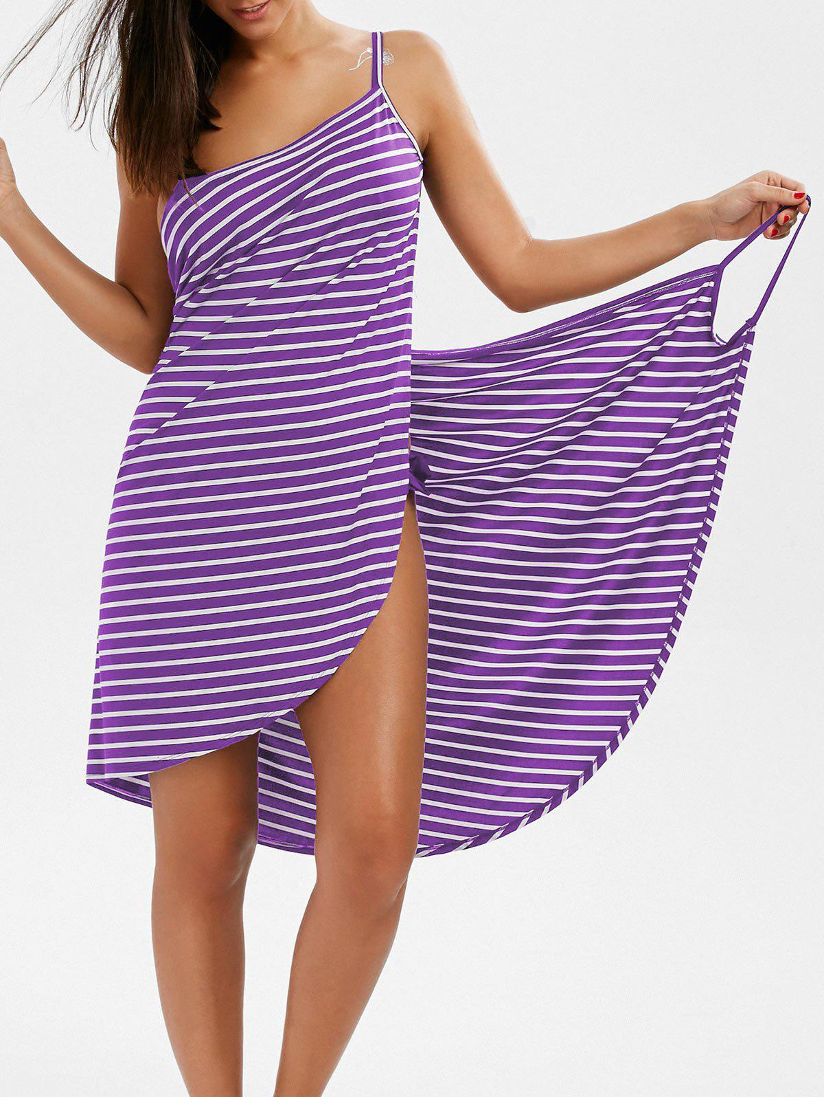 Striped Open Back Multiway Wrap Cover-ups Dress 213288509