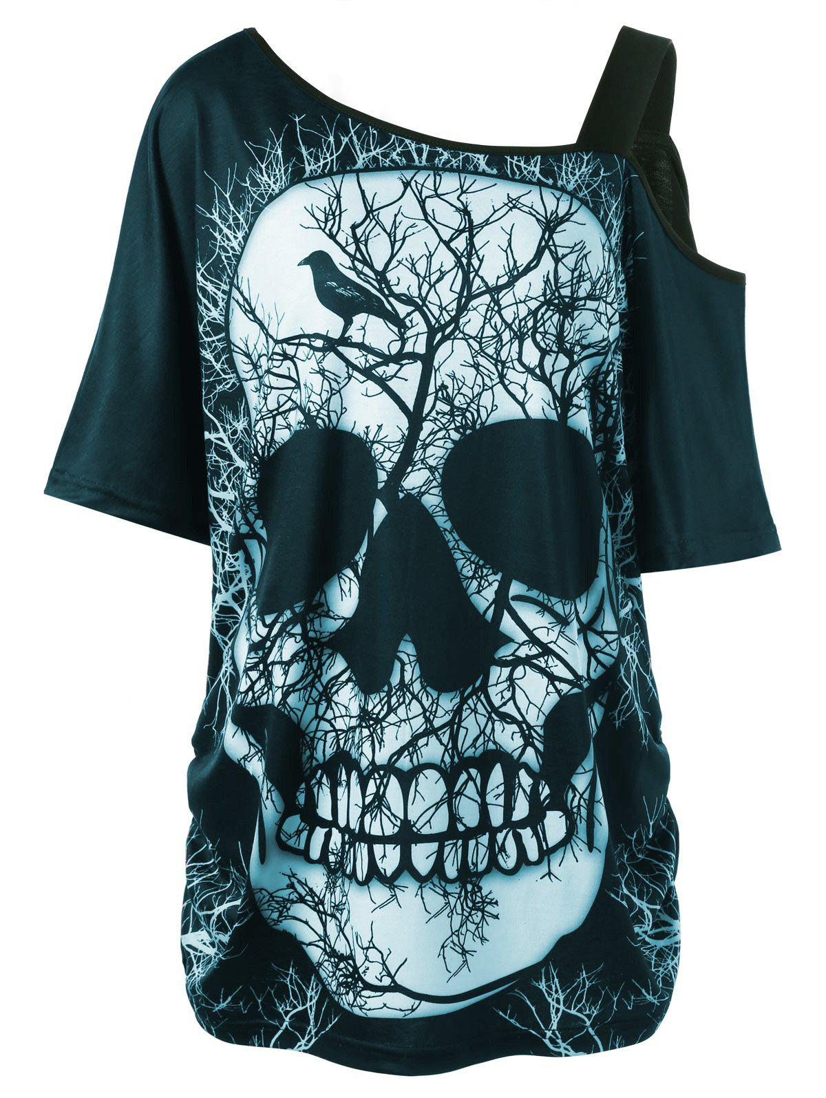 Plus Size Skew Collar Skull T-shirt - CYAN 5XL