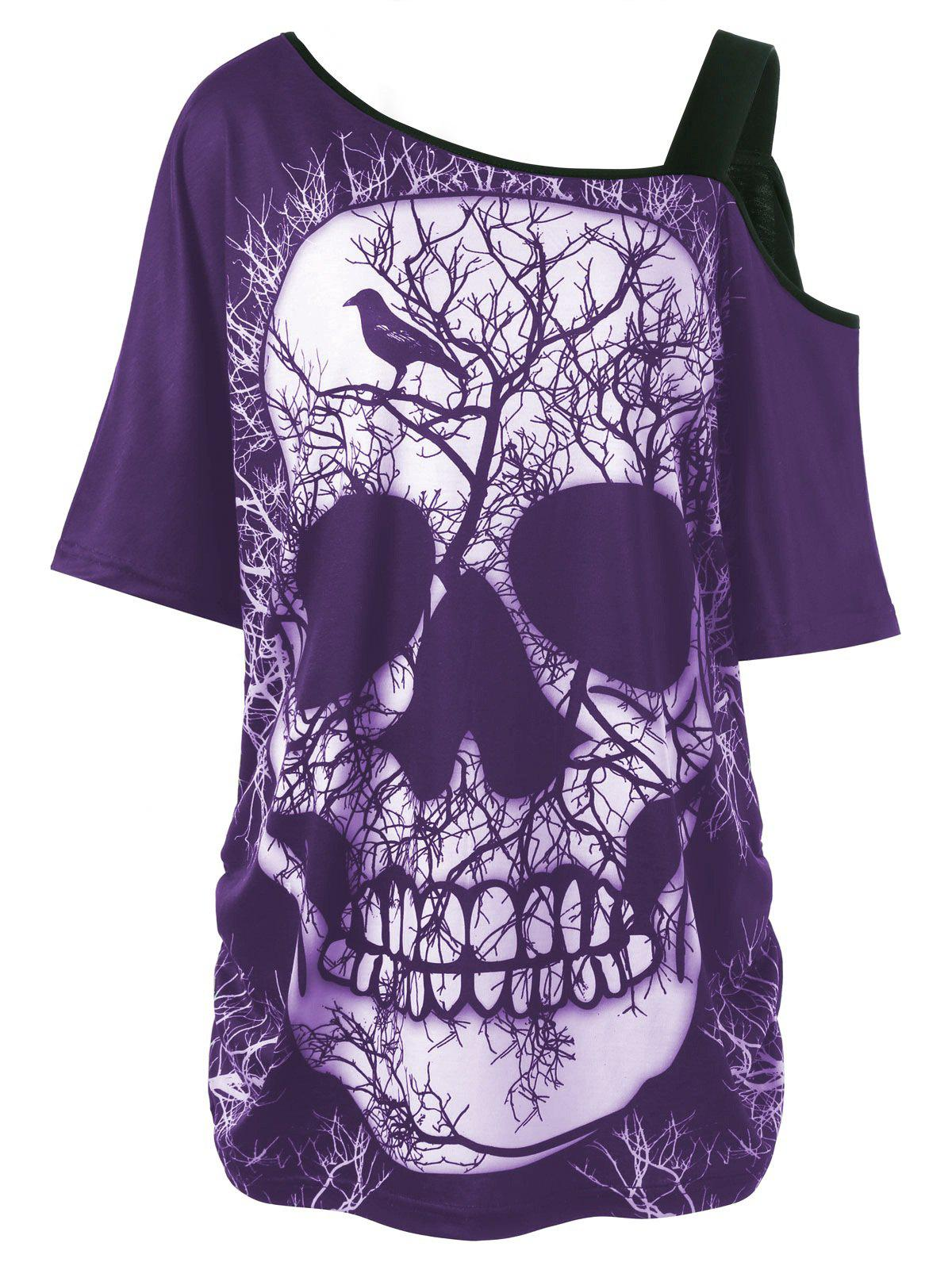 Plus Size Skew Collar Skull T-shirt - PURPLE XL