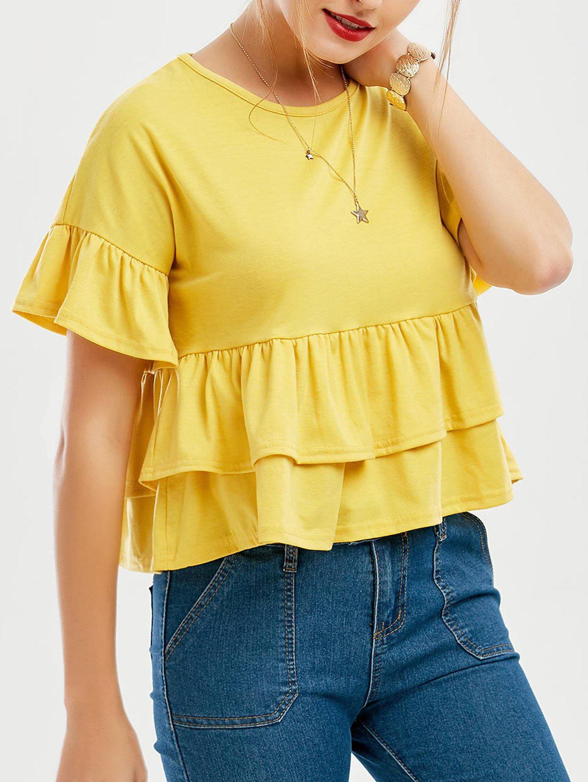 Layered Flounce Flare Sleeve Top - YELLOW S