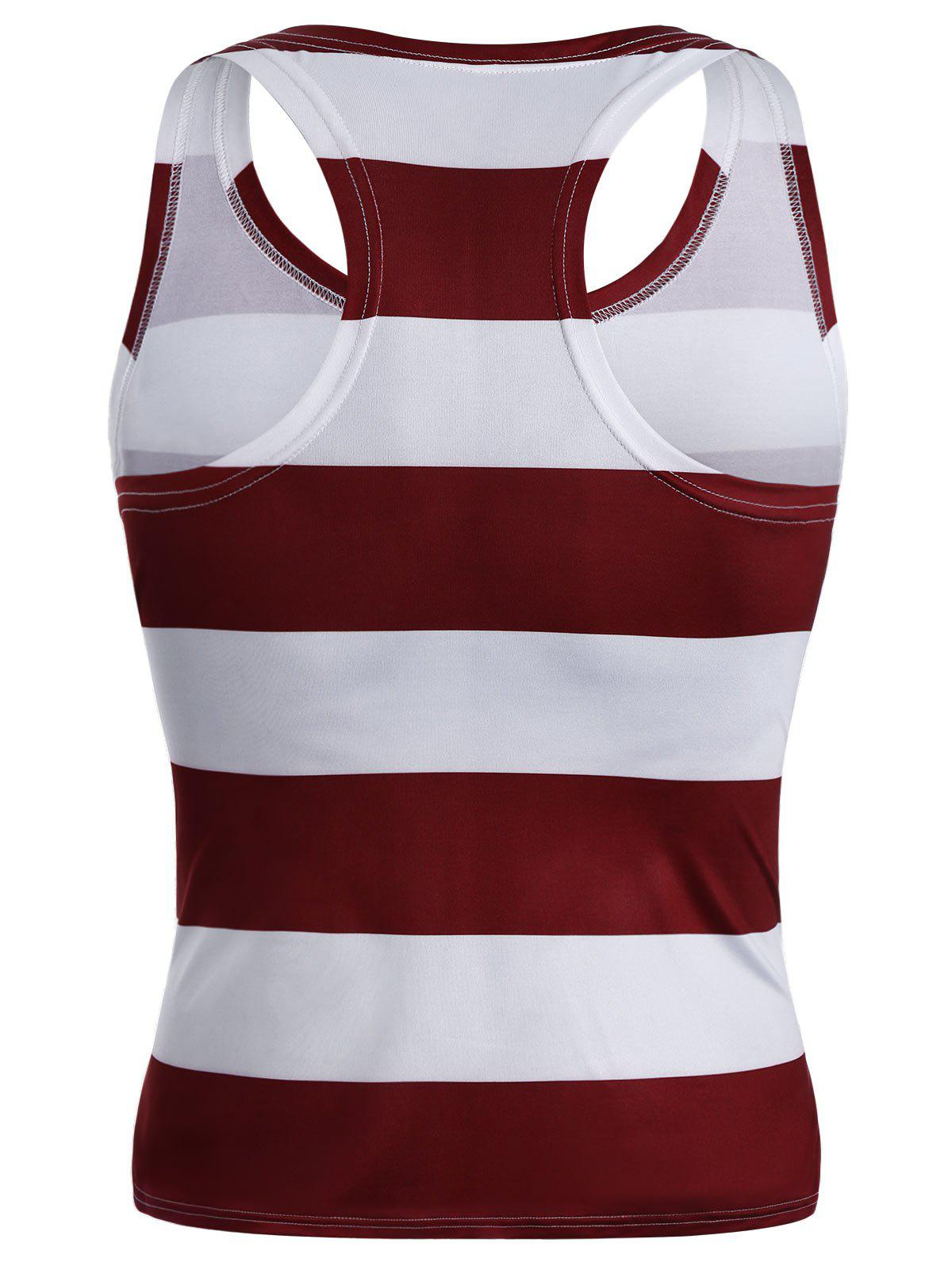American Flag Patriotic Muscle Racerback Tank Top - multicolorcolore M