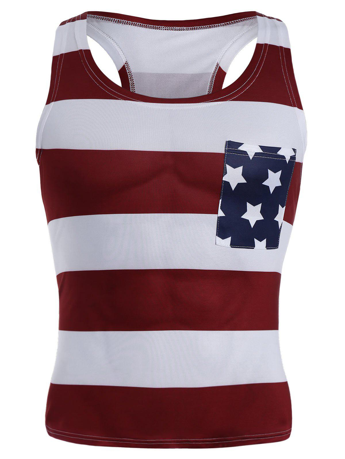 American Flag Patriotic Muscle Racerback Tank Top - multicolorcolore S