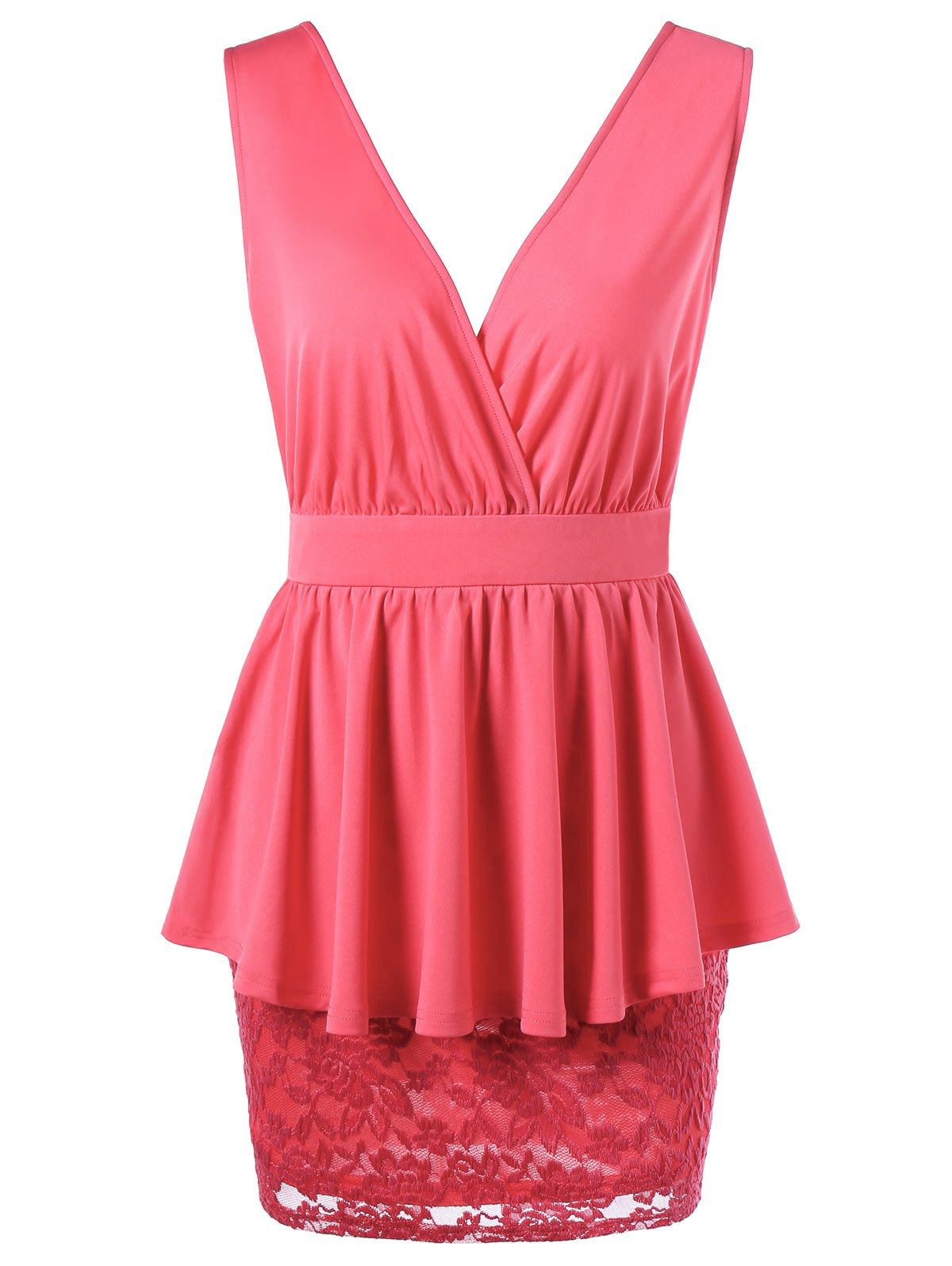 Crossover Lace Peplum Dress - WATERMELON RED L