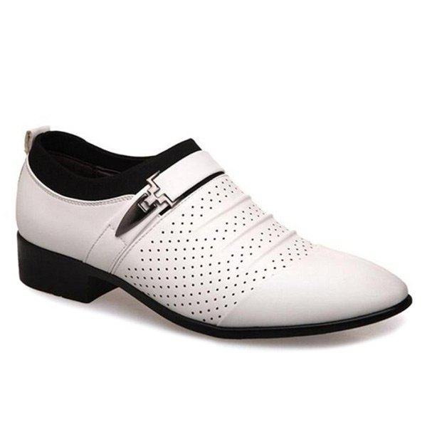 Breathable Pleated Formal Shoes - WHITE 43