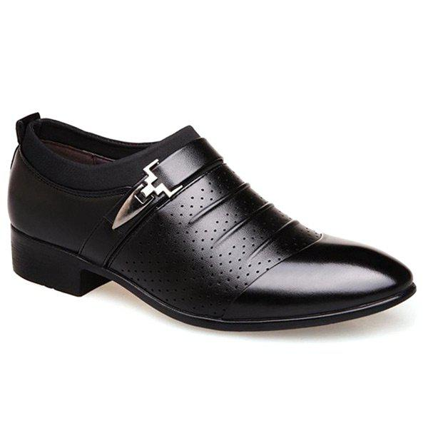 Breathable Pleated Formal Shoes - BLACK 42