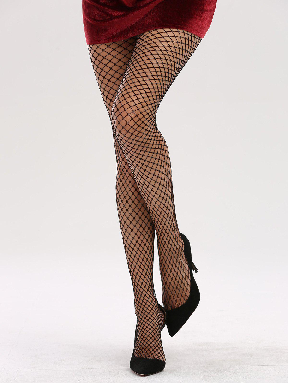 See Through Hollow Out Fishnet Tights - BLACK