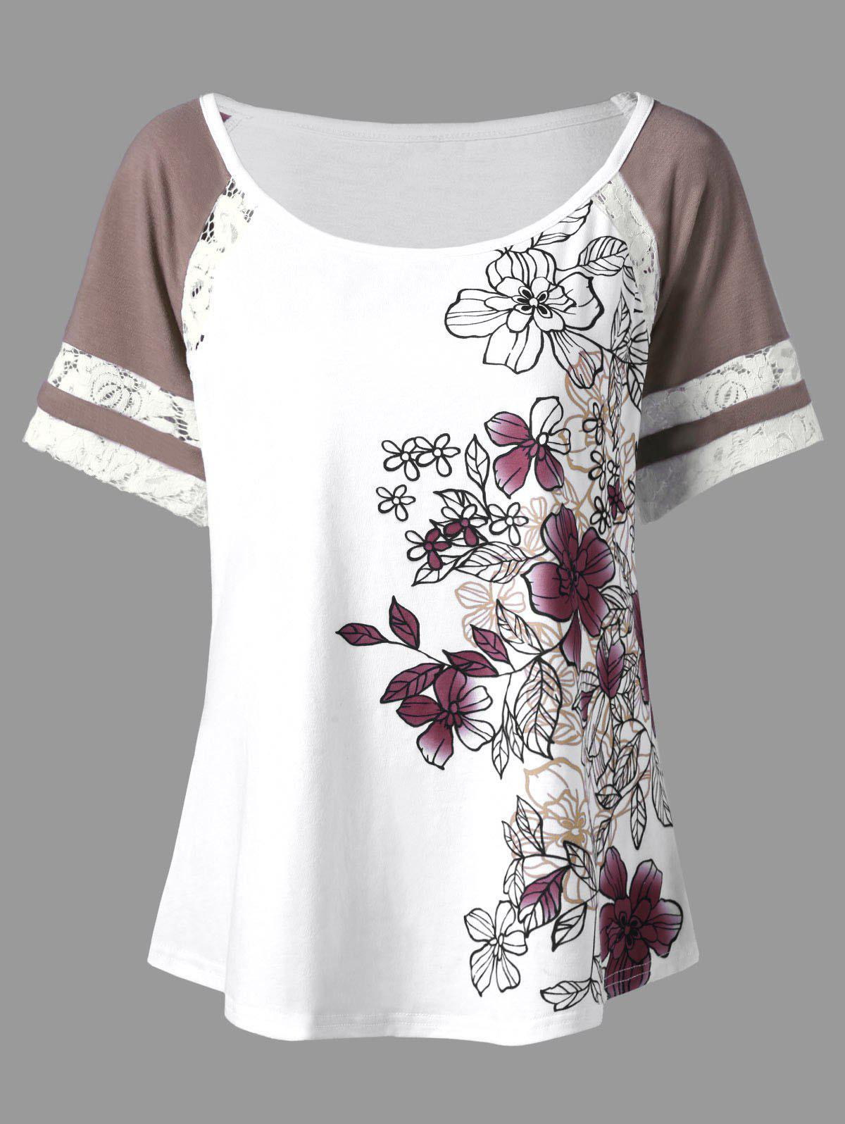 Floral Print Plus Size T-shirt - WHITE 2XL