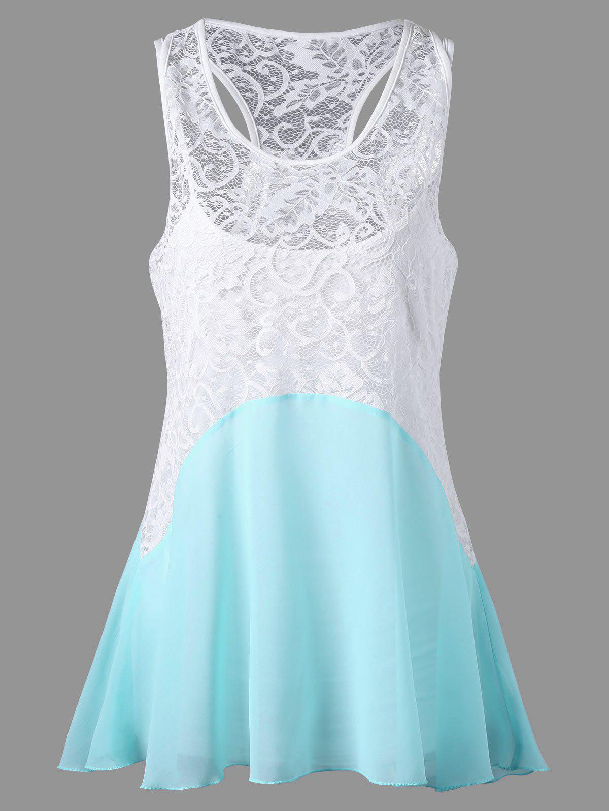Lace Trim Sleeveless Dressy Blouse with Camisole lace trim sleeveless dressy blouse with camisole