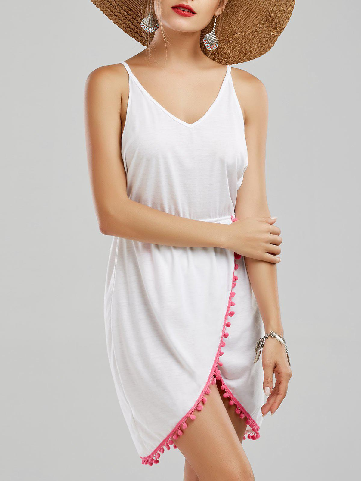 Backless Tassel Front Slit Halter Dress - Blanc M