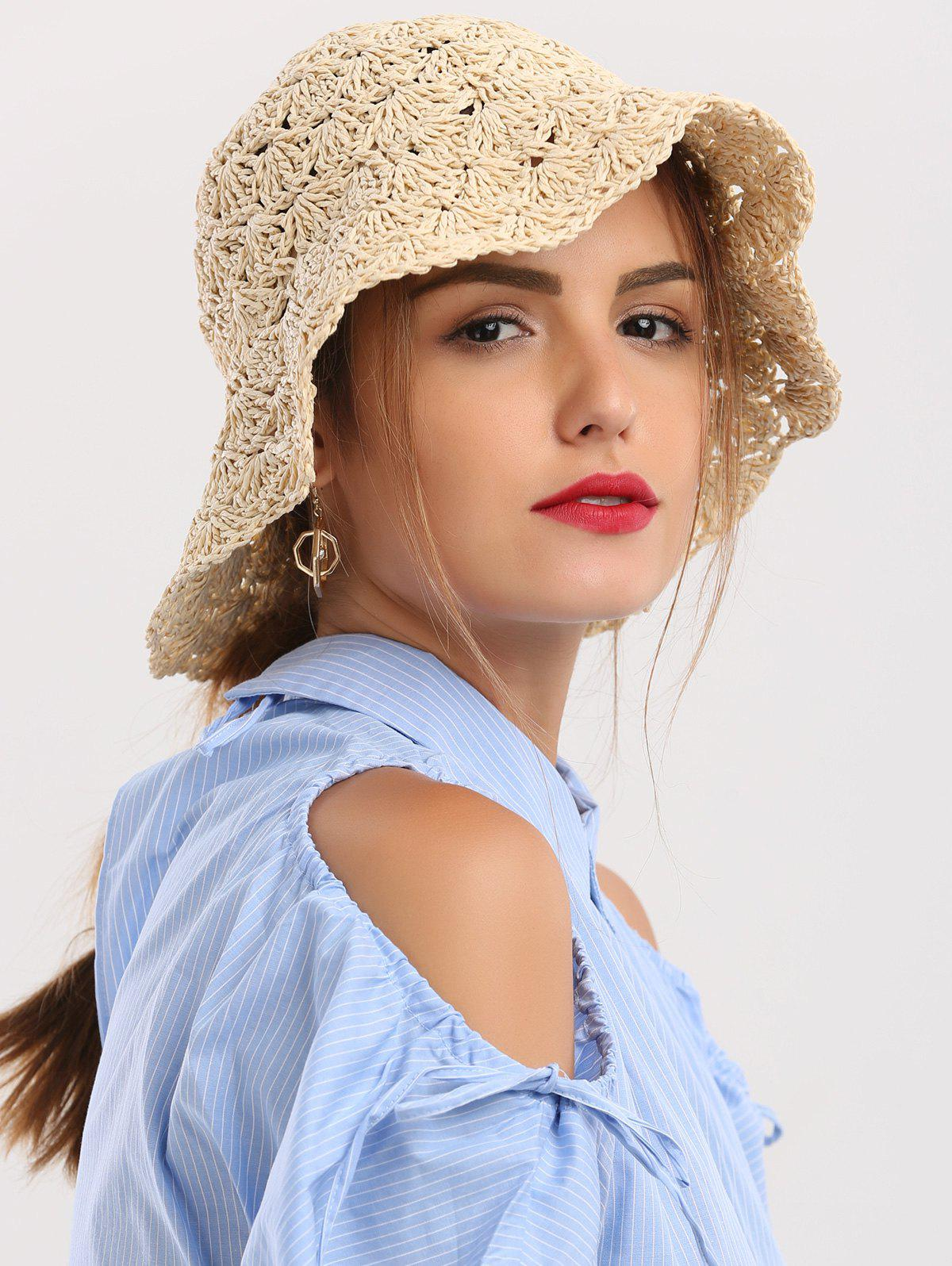 Crocheting Folding Breathable Straw Hat - BEIGE
